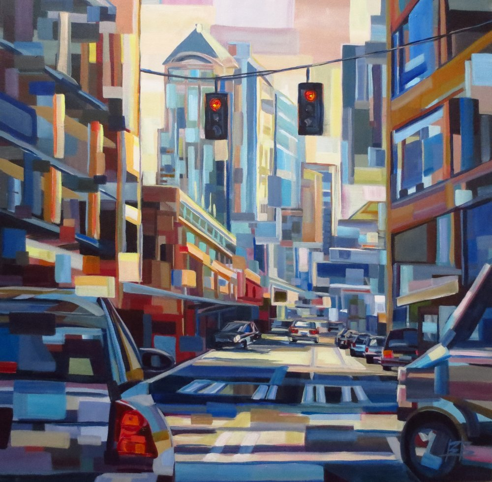 Urban Pause#Acrylic on canvas#36 x 36 inches#$2,400