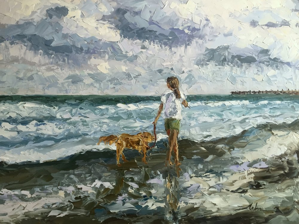 Barefoot Afternoon#Oil on panel#30 x 40 inches#$2,000