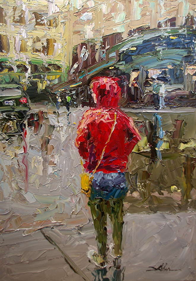 Woman in Red#Oil on panel#33 x 23 inches#$1,600