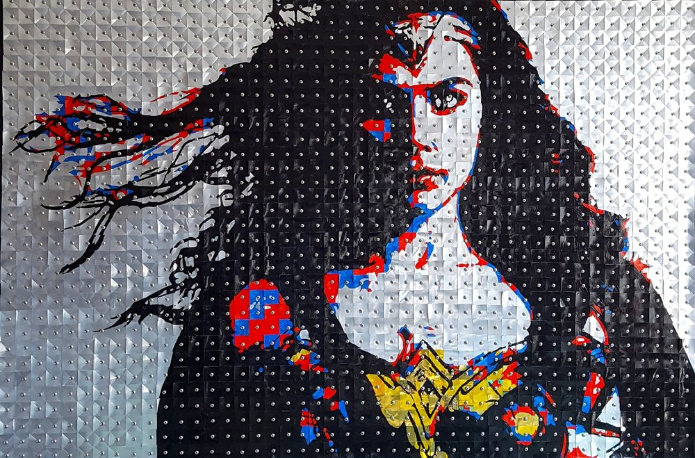Wonder Woman#Aluminum cans on wood panel#30 x 44 inches#$3,000