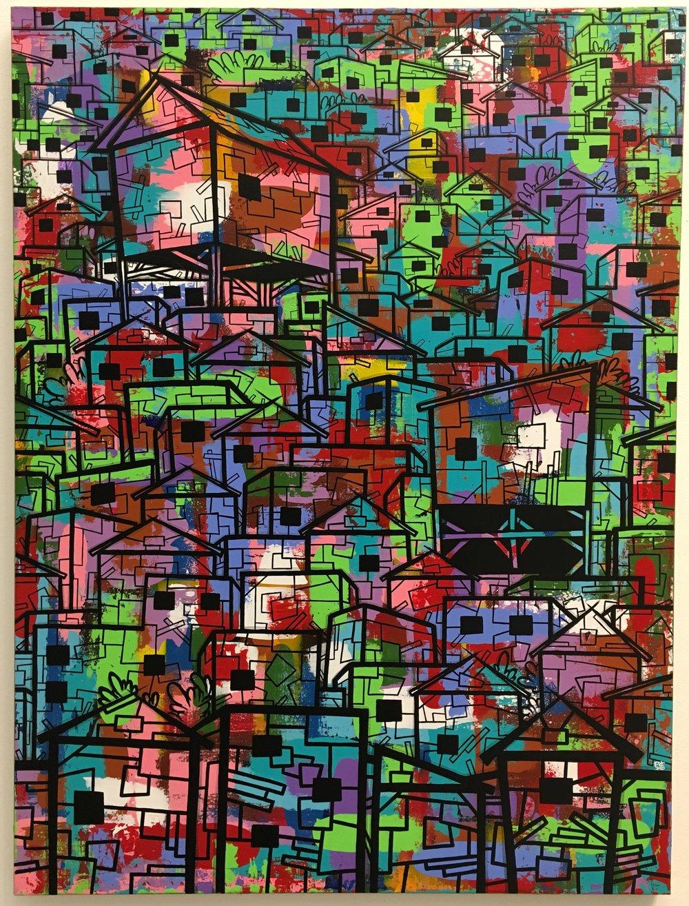 sLum 4#Acrylic & ink on canvas#48 x 36 inches#$3900
