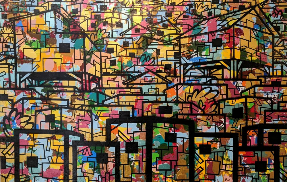 sLum 10#Acrylic & ink on canvas# 24 x 36 inches#$1900
