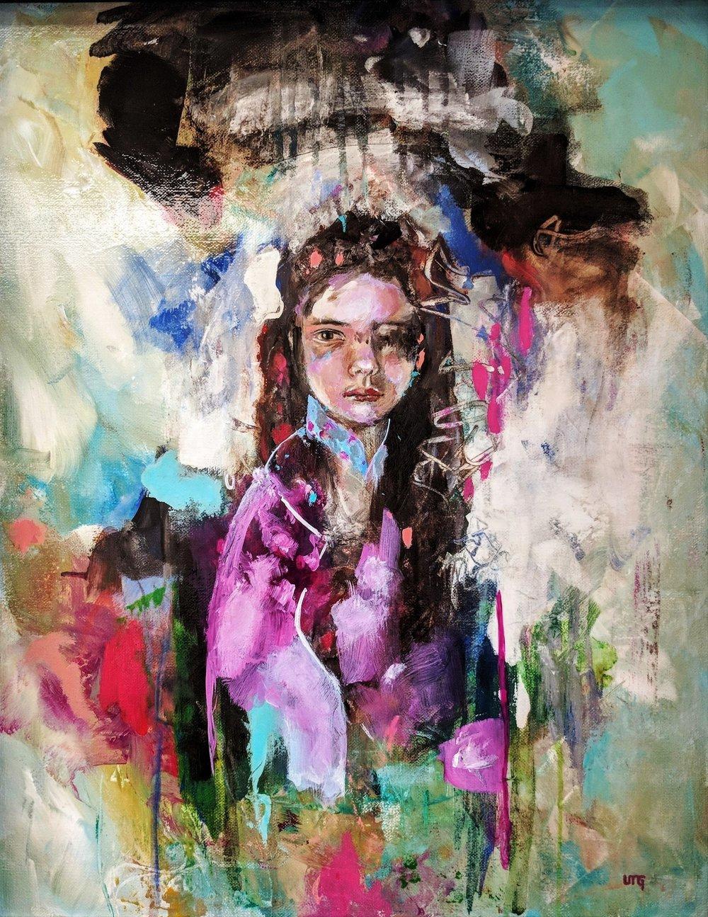 Little Nymph Geisha#Acrylic on canvas#20 x 16 inches#$1,200