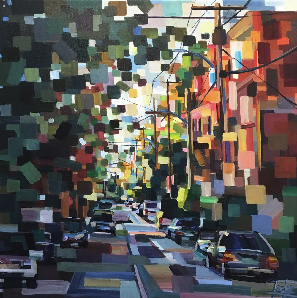Evening in the Neighborhood#Acrylic on canvas#24 x 24 inches#SOLD