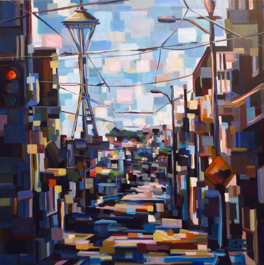 6th Avenue#Acrylic on canvas#30 x 30 inches#$2,200