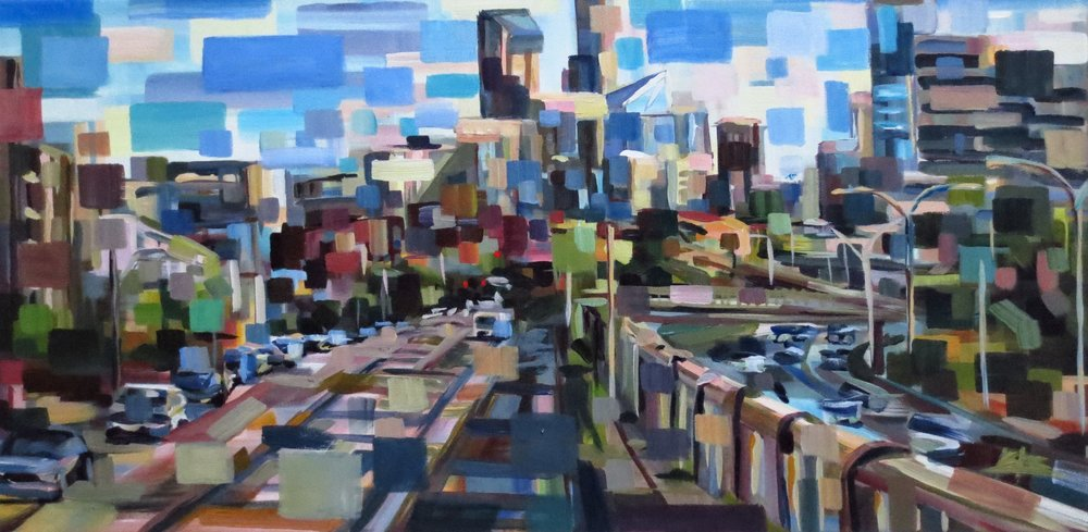 Afternoon Over the Freeway#Acrylic on canvas#15 x 30 inches#$1,100