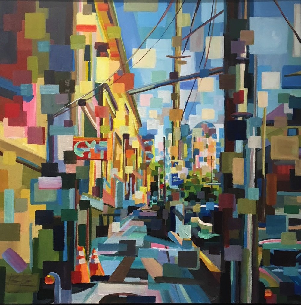 Wires in Capitol Hill#Acrylic on canvas#24 x 24 inches#SOLD
