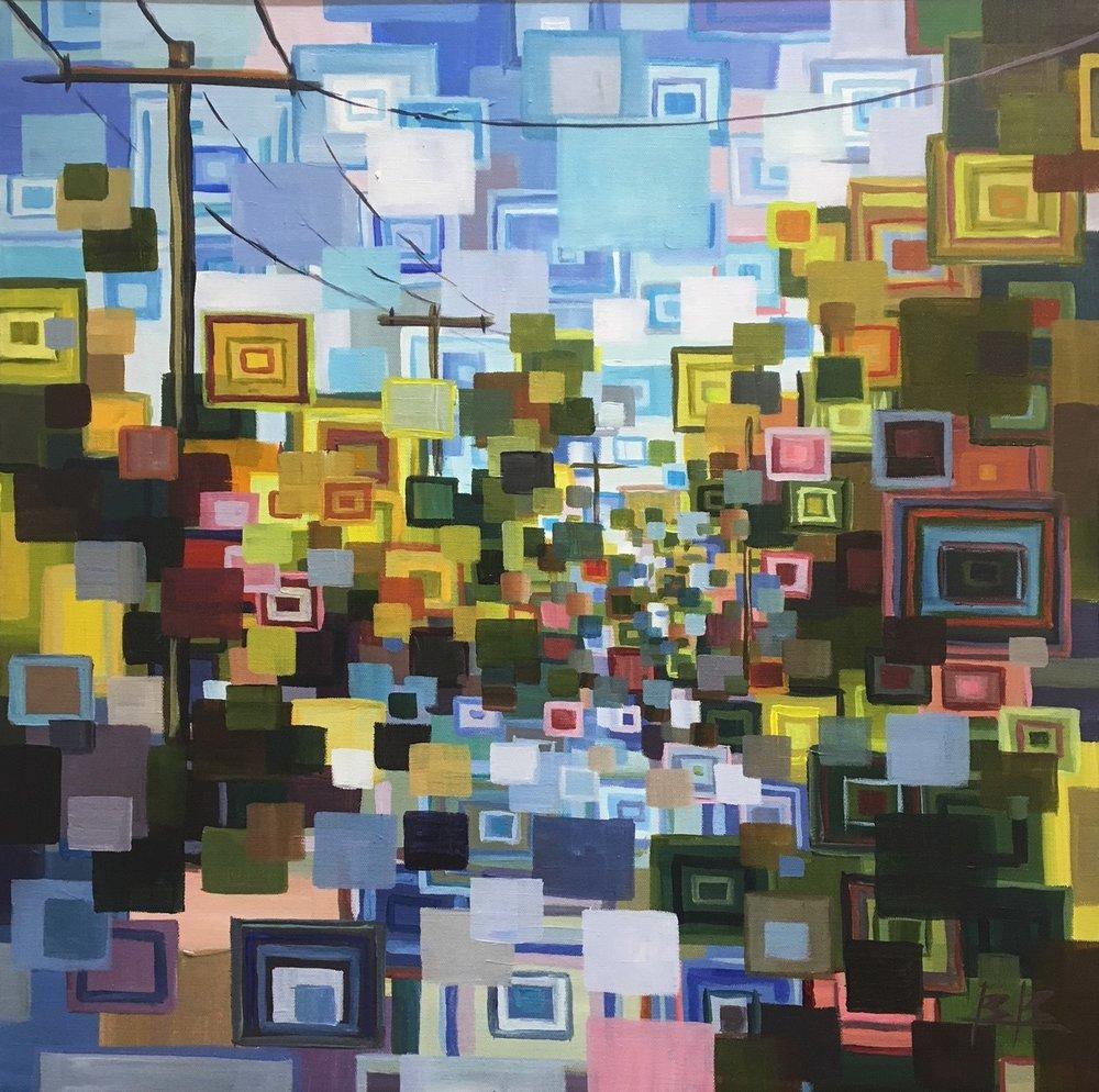 My Neighborhood#Acrylic on canvas#24 x 24 inches#$1,500