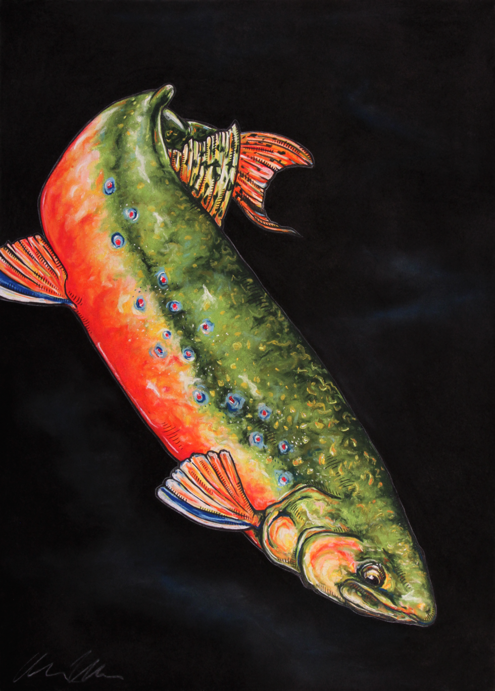 Brook Trout#Pastel on charcoal on archival paper#30 x 22 inches#$900