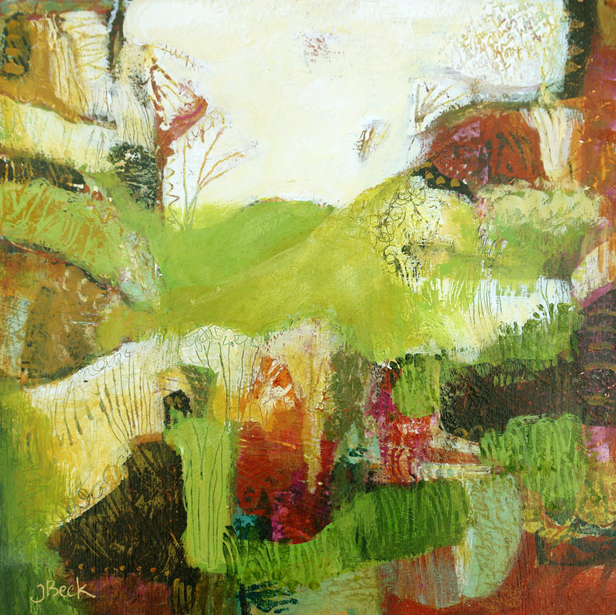 Garden on the Hill#Mixed media#12 x 12 inches#$275