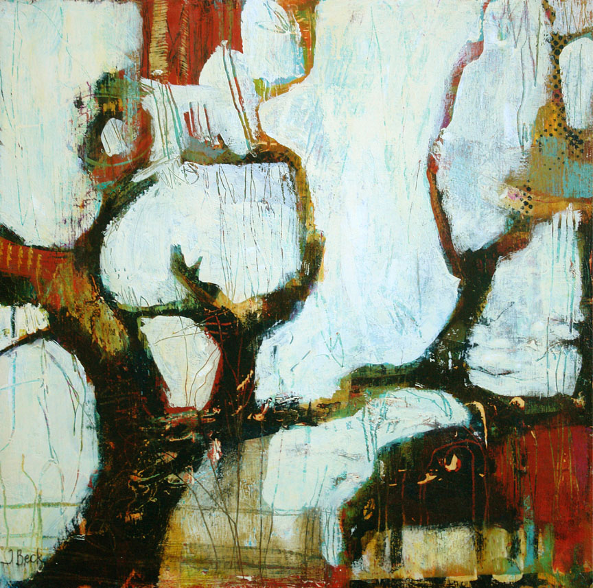 Old Tree with Cow#Mixed media#12 x 12 inches#$275