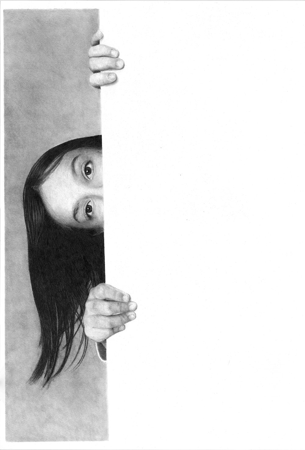 Peek#Graphite on paper#22 x 15 inches#$2500