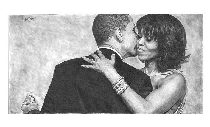 True Love - Barack & Michelle#Limited Edition print on fine art paper#14 x 22#$250