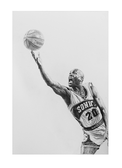 Gary Payton#Limited edition print on fine art paper#22 x 15 inches#$250