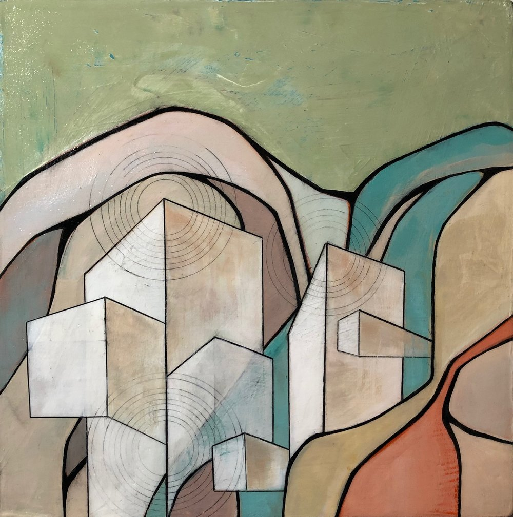 Building Calm#Acrylic on wood#12 x 12 inches#SOLD