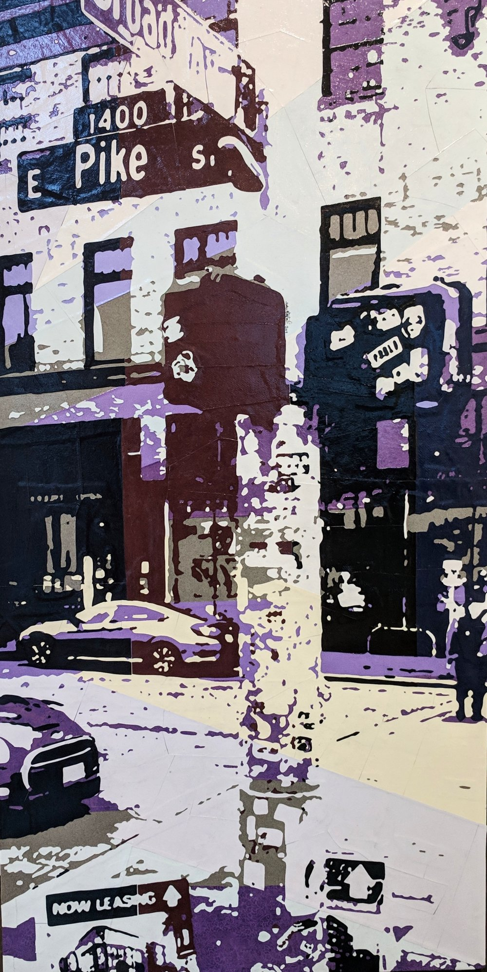 Broadway & Pike#Paper on panel#48 x 24 inches