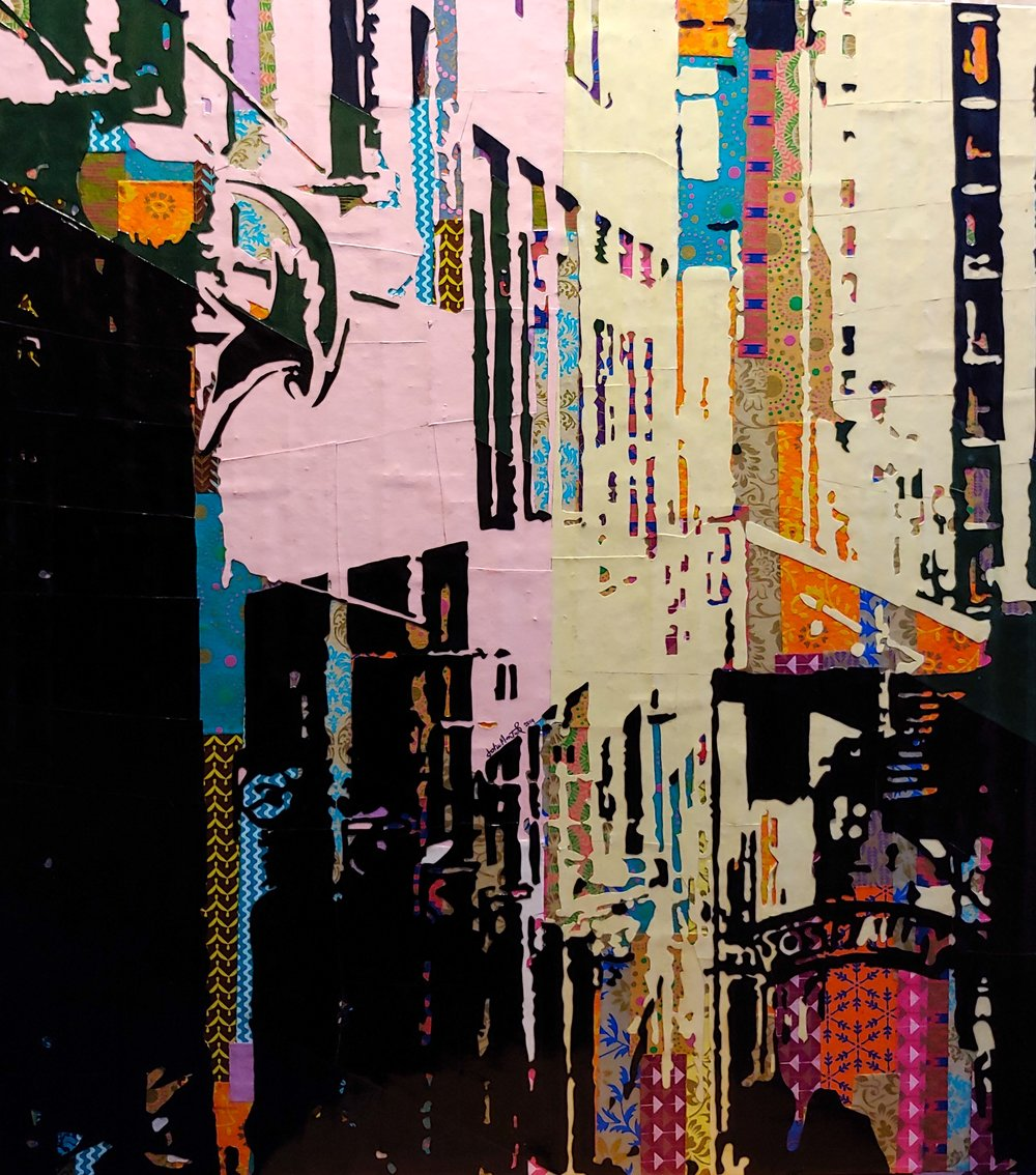 Post Alley#Paper on panel#27 x  24 inches#$1050