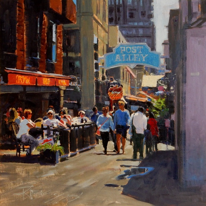 Post Alley Afternoon#Oil on linen#20 x 20 inches #SOLD