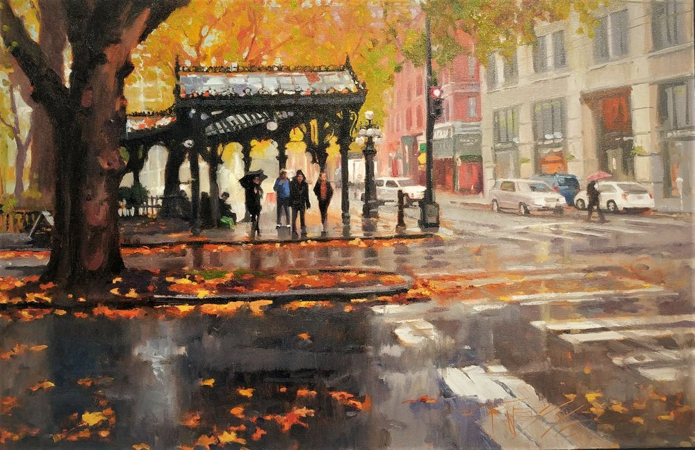 Autumn Leaves#Oil on linen#24 x 36 inches#$2,400