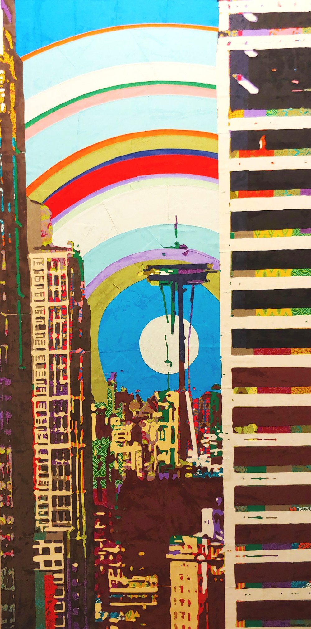 Space Needle from Smith Tower#Paper on panel # 48  x 24 inches # $1,850