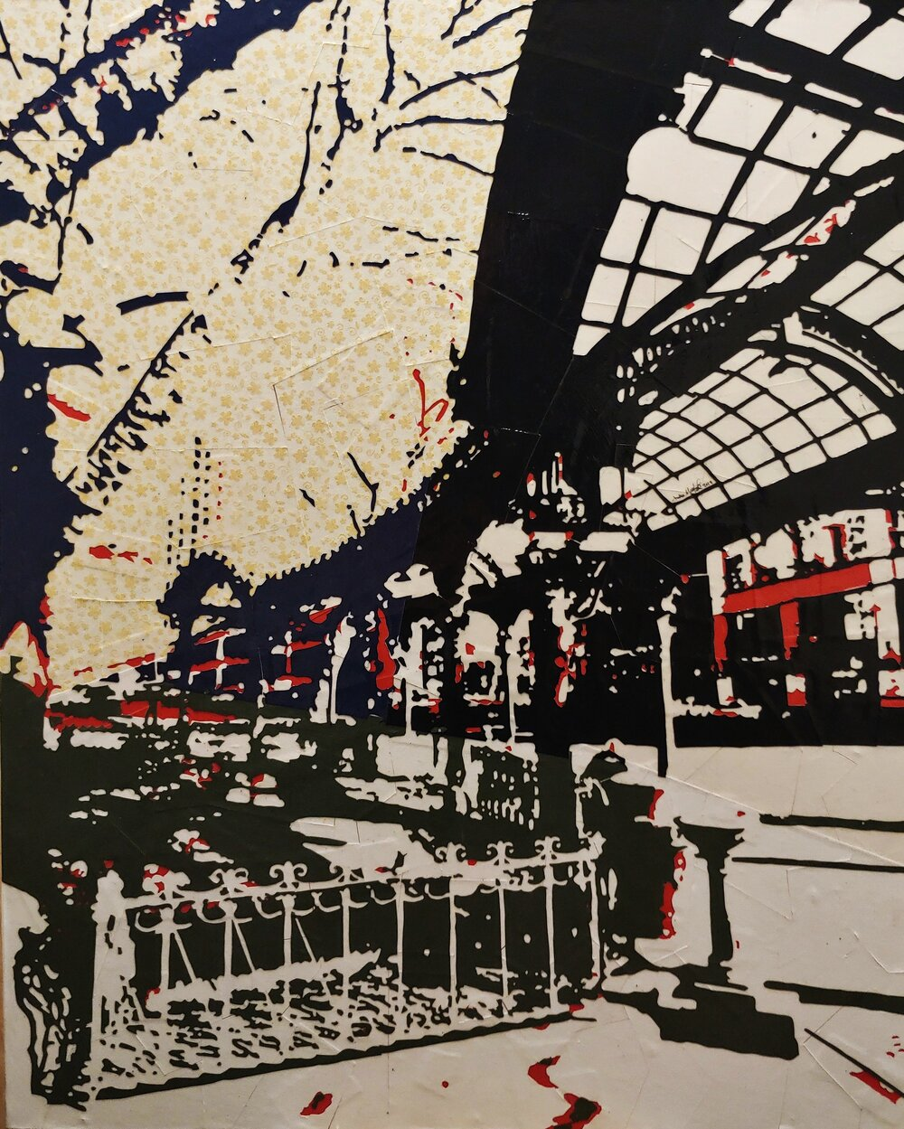Pioneer Square#Paper on panel# 33 x 27 inches #$1,300