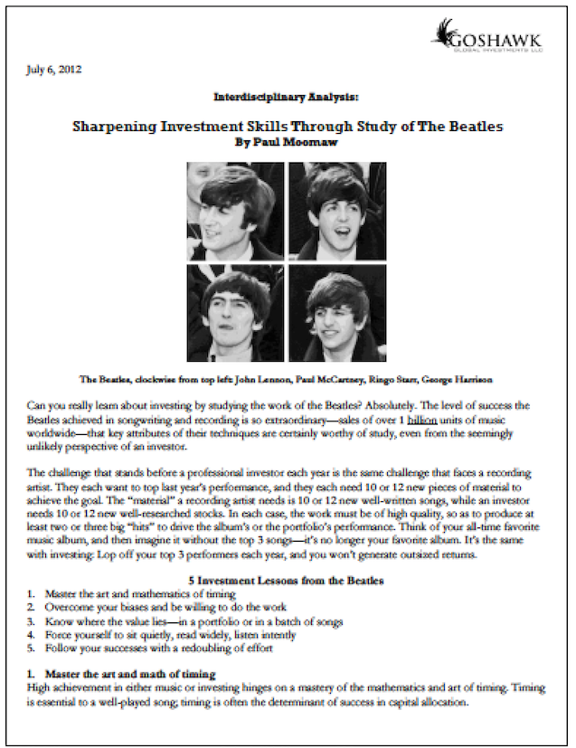 Beatles Investment Study