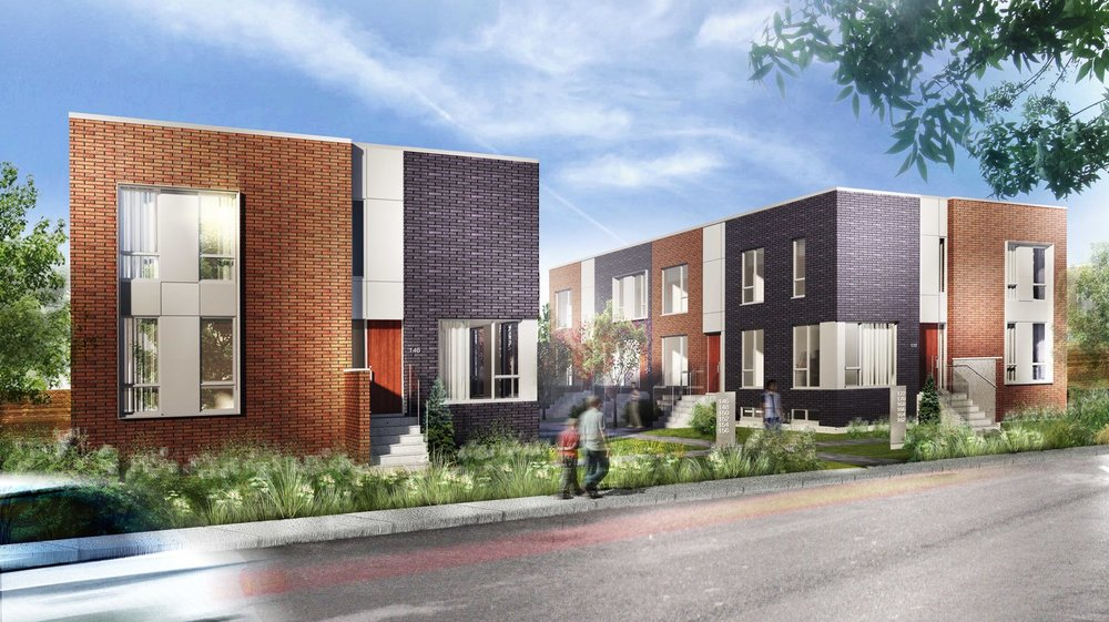 Townhouses - The contemporary townhouses offer spacious and bright places to live. The units have 3 bedrooms, slatted floors, a quartz countertop in the kitchen and an indoor, double garage. Their complete brick facade gives them a refined style.