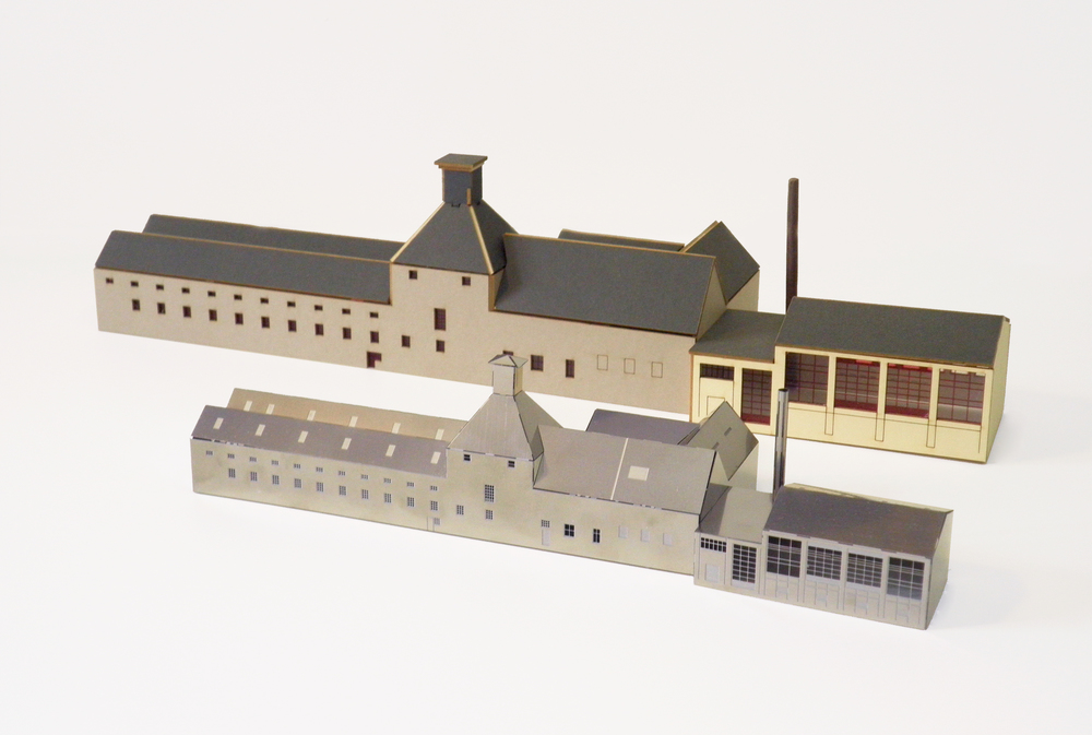 A card model kit and a nickel silver model of Aberfeldy Distillery