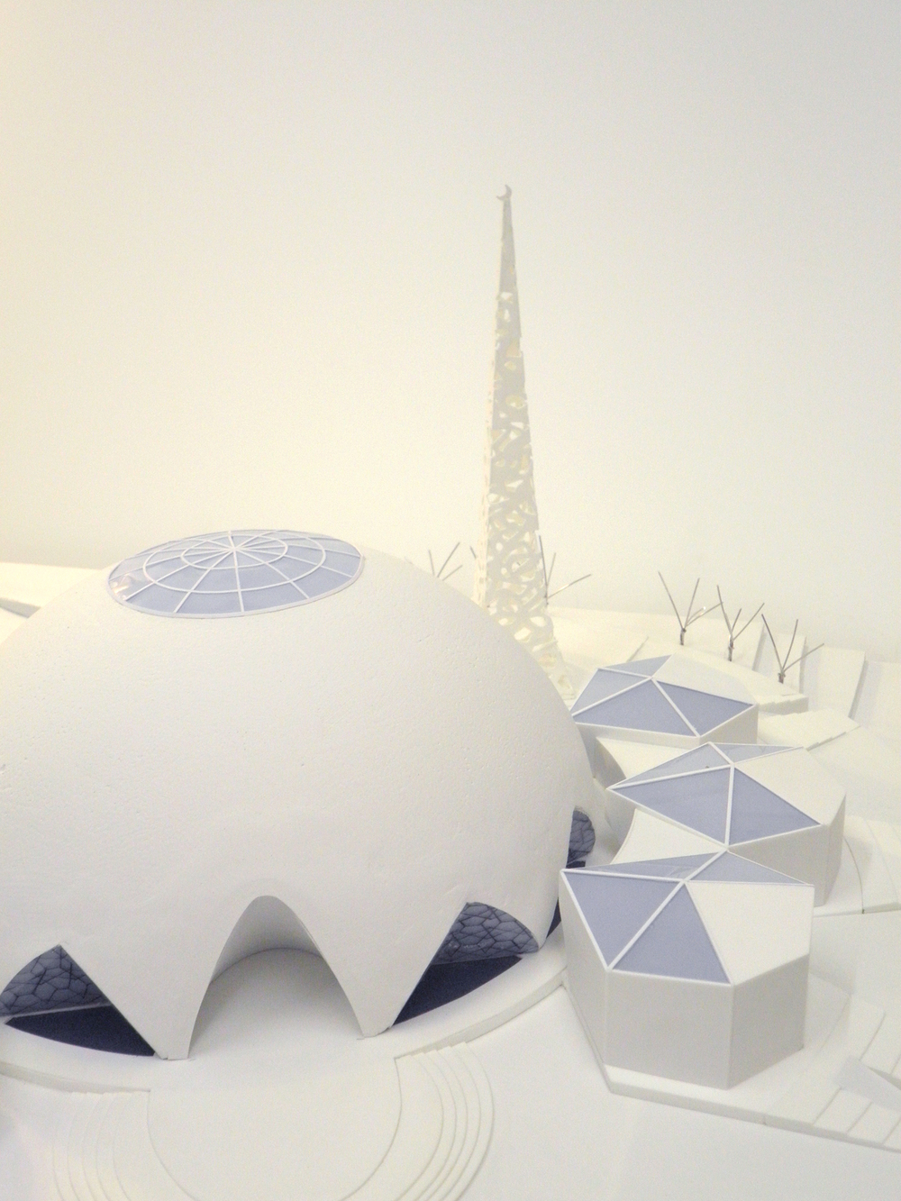 1:200 model of hemispherical mosque and surrounding structures