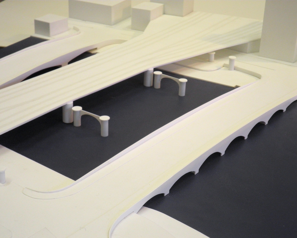 White model of central Glasgow bridges