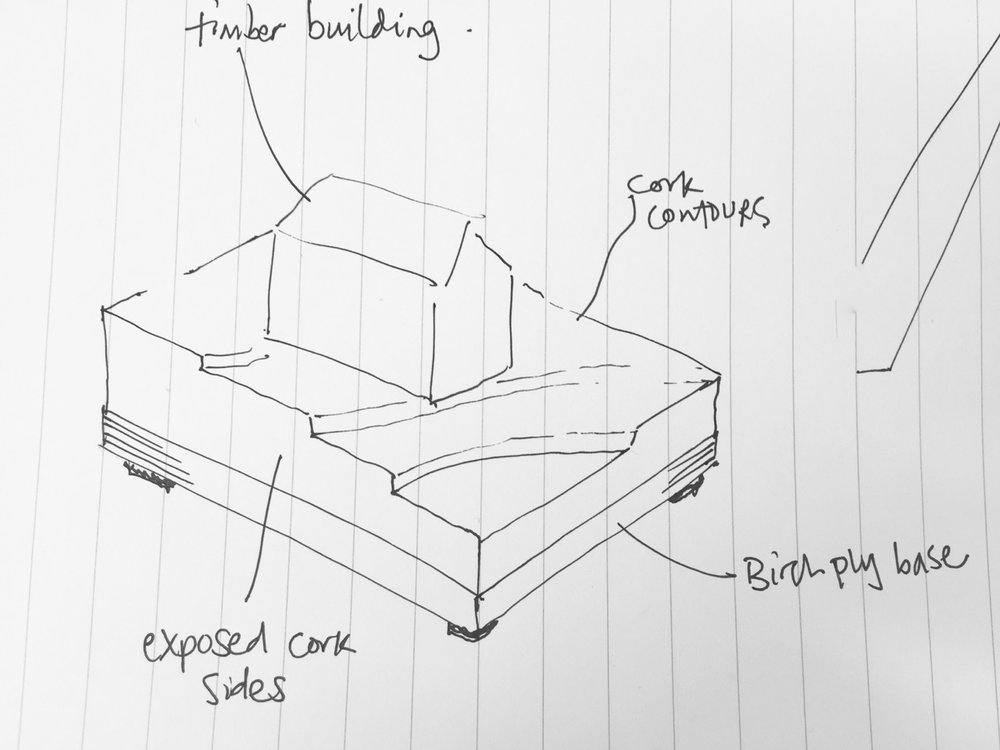 A sketch I produced to show the client the appearance of the model