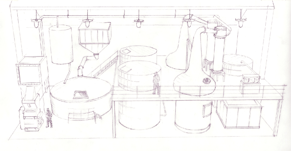 Finch & Fouracre development sketch for the distillery model. Including pipework and lighting, as well as the distilling equipment.