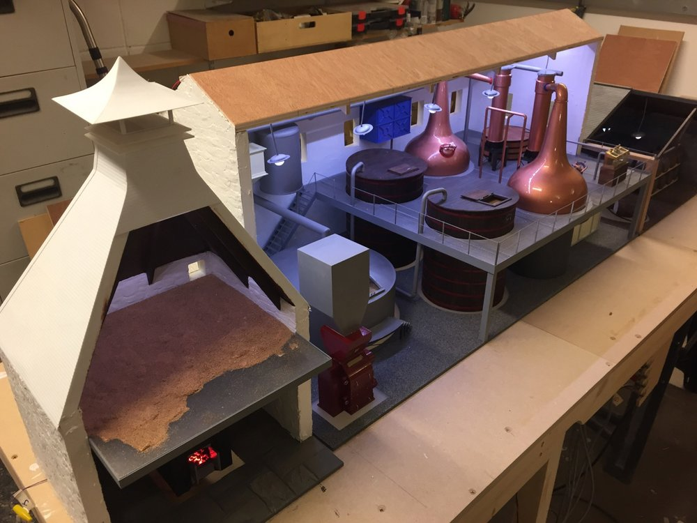 The distillery model begins to take shape. Most of the internals are complete, with the buildings yet to have surface finishes.