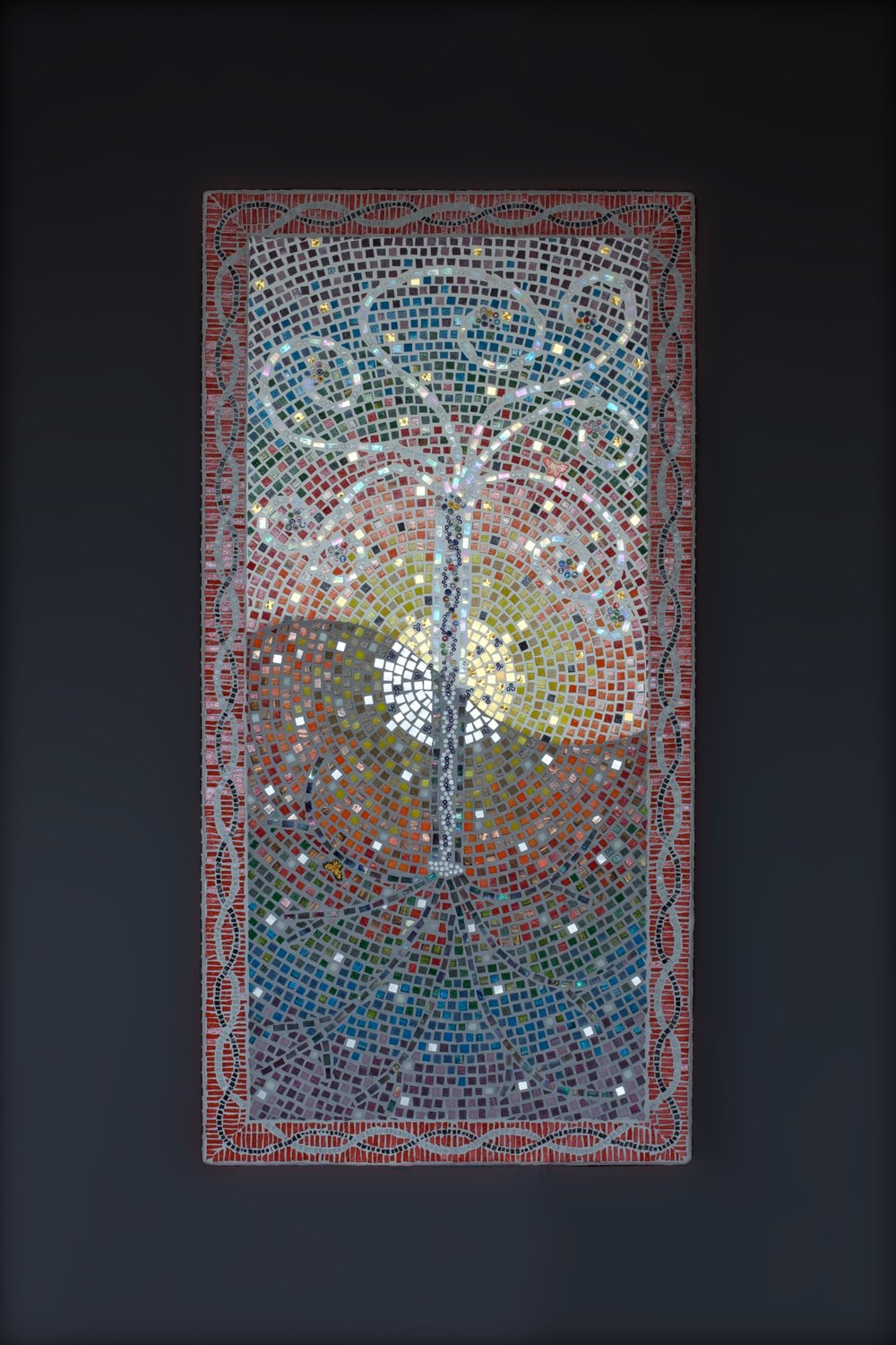 Yggdrasil, 2002. Glass and gold leaf, and wood mosaic.
