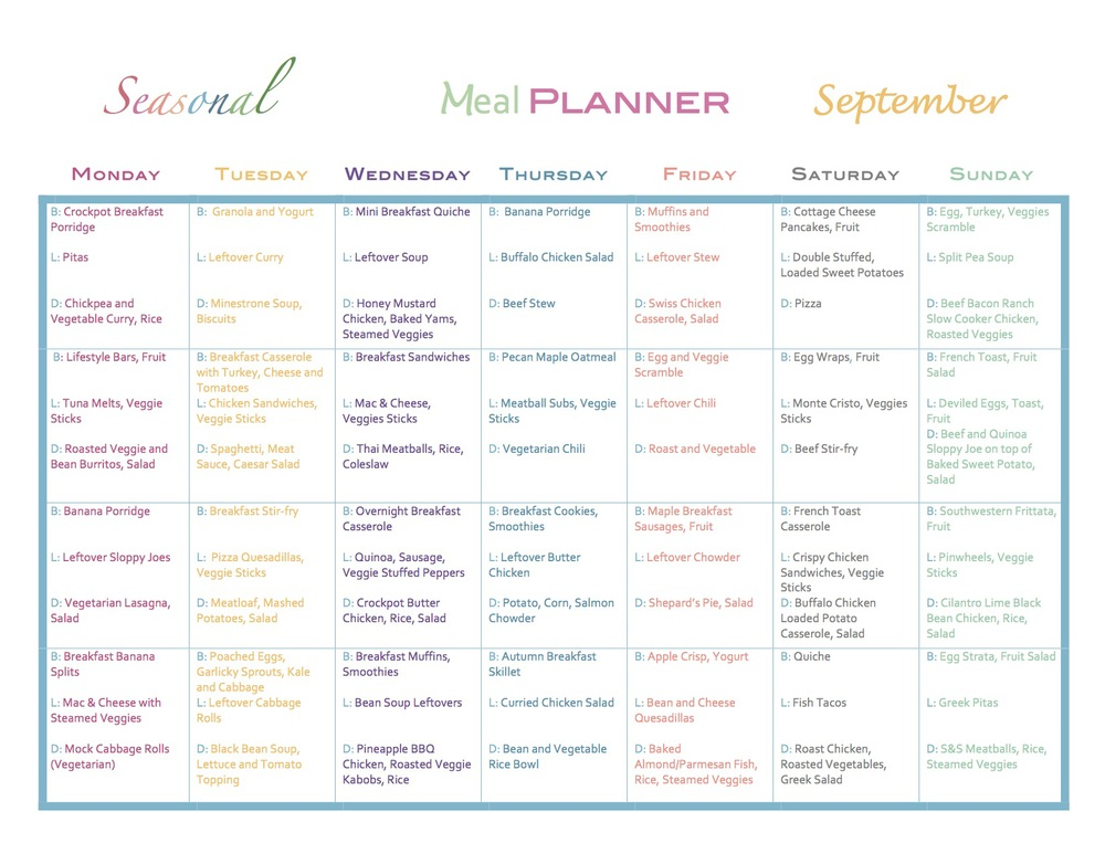 Fall Monthly Meal Plan
