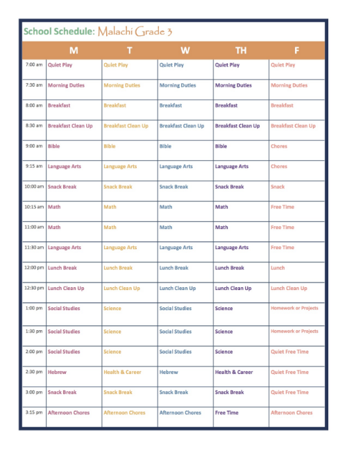Grade 3 Homeschool Schedule