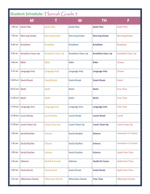 Grade 5 Homeschool Schedule
