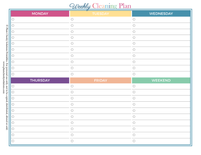 Weekly Cleaning Printable