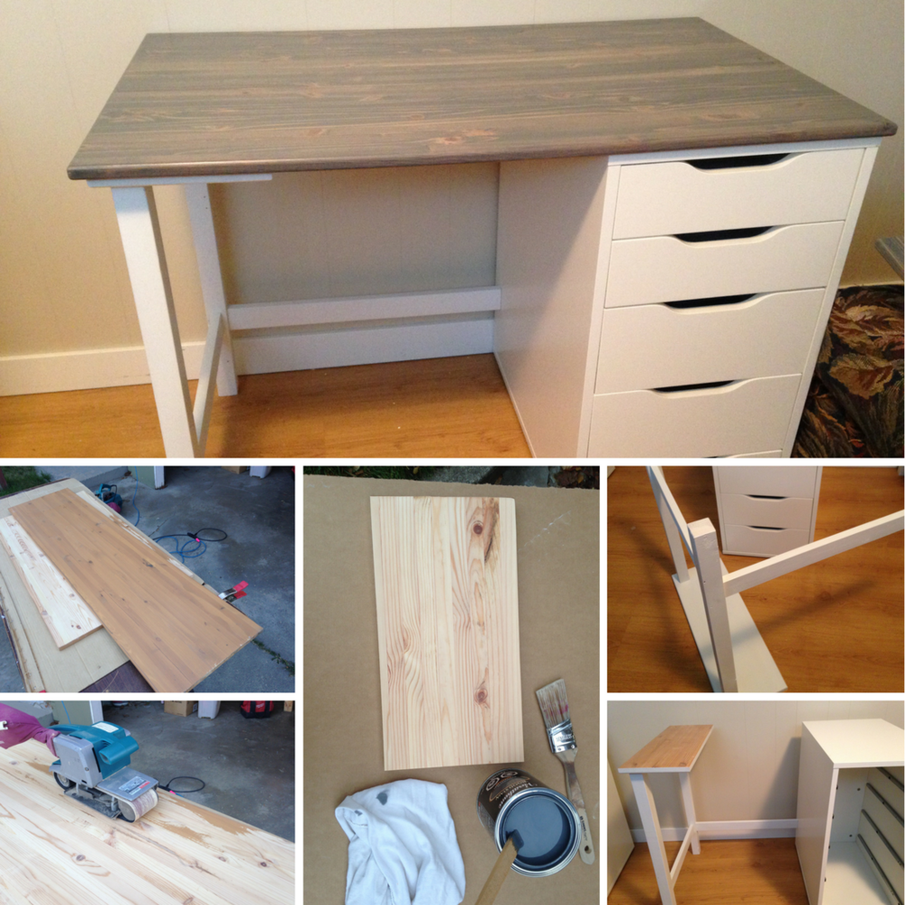 School Desk DIY Process With Ikea Drawers