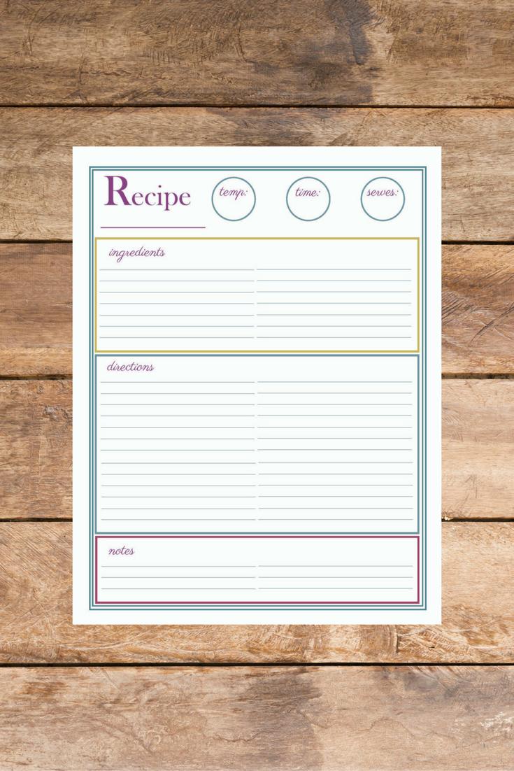 Free Recipe Page Printable