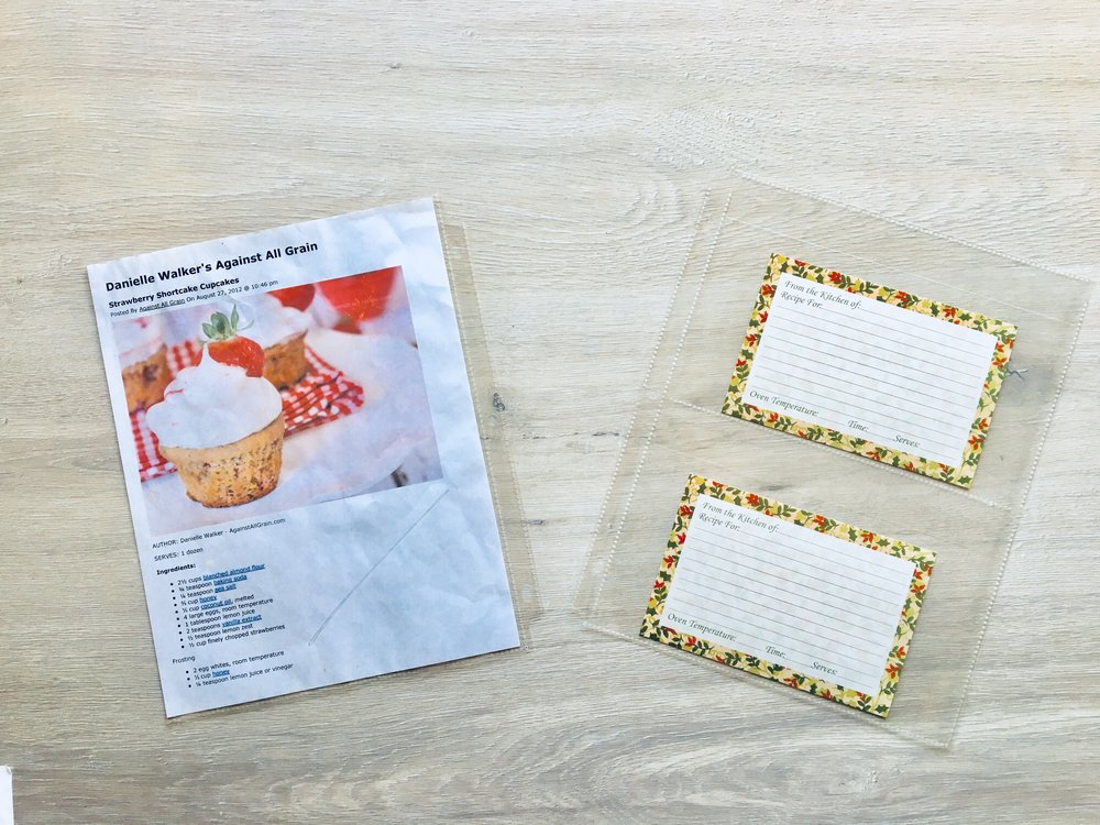 page protector sheets for recipes