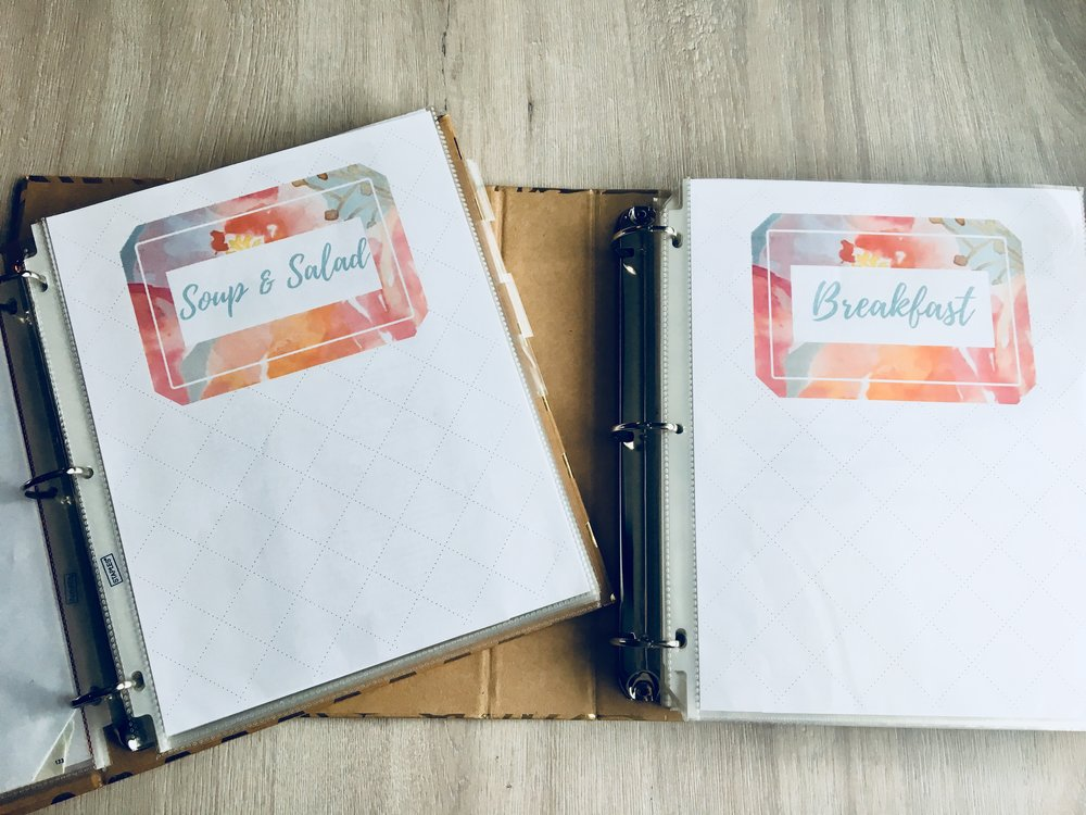 organized and assembled recipe binders
