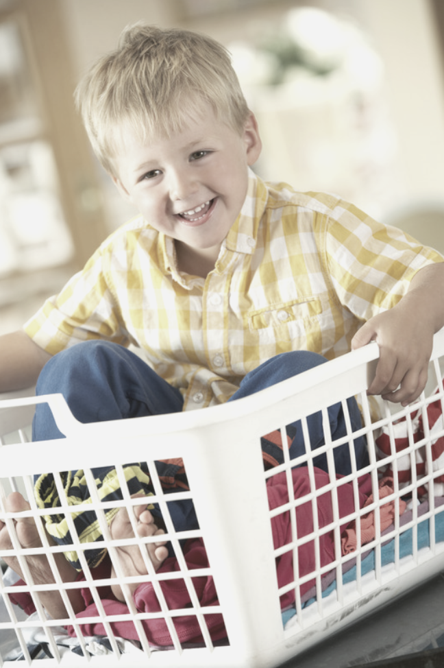 have a clothing zone for each child (LAUNDRY baskets work great)