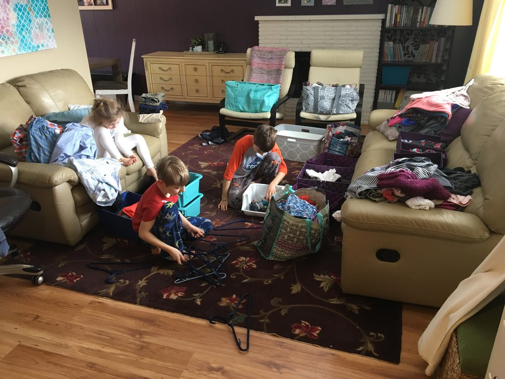 Sorting and organizing kids clothing