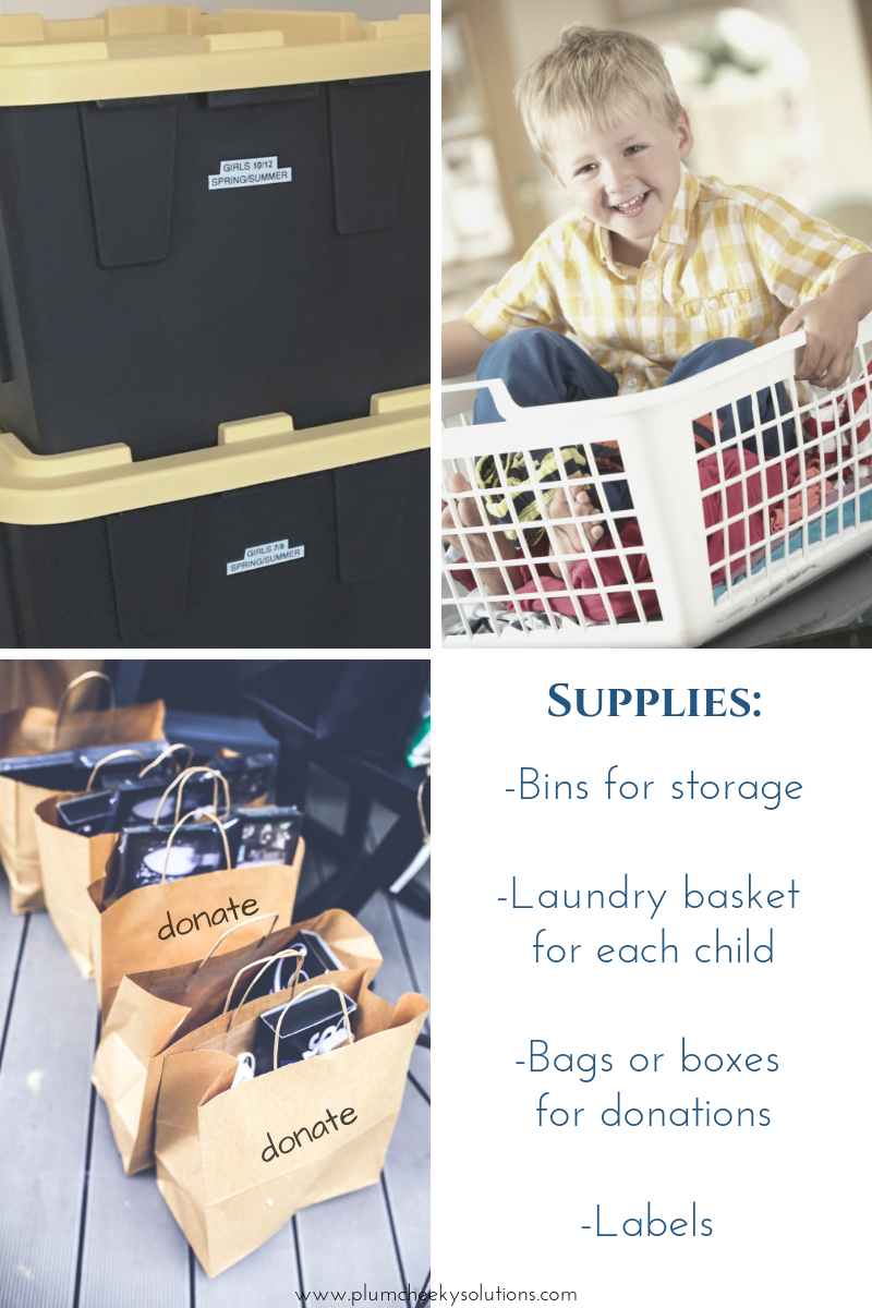 supplies needed for organizing and storing off season clothing for kids