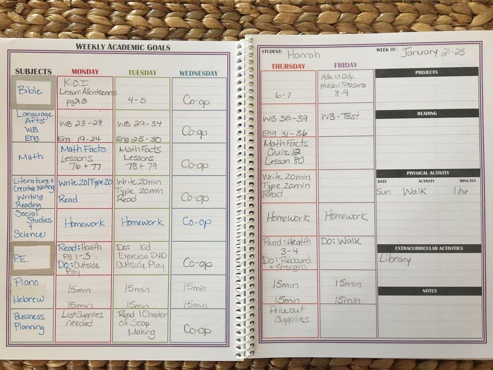 weekly homeschool schedule