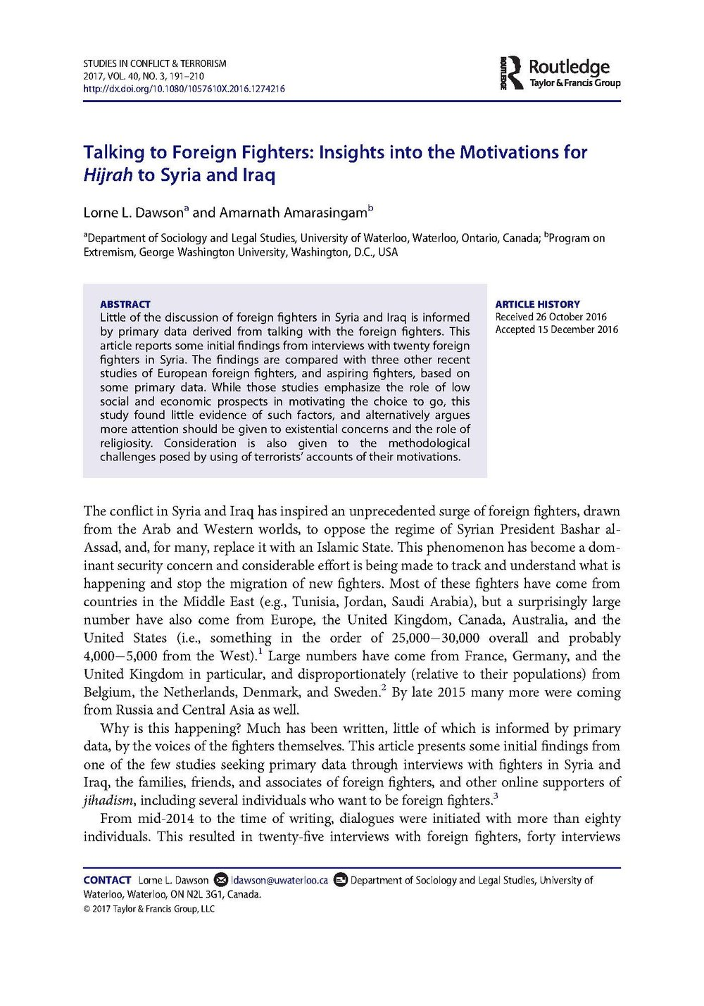 Talking to Foreign Fighters: Insights into the Motivations for Hijrah to Syria and Iraq