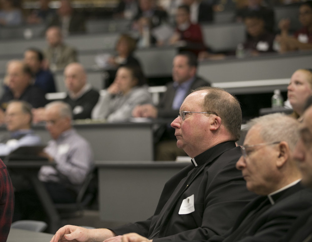 Rev. Msgr. John E. Hart, Pastor of Assumption Church in Morristown, listens to the speakers with other religious and educational leaders. Religious and Educational Faculty Security symposium on safety in county schools and churches by the Morris County Prosecutor's Office at the Morris County Public Safety Training Academy, Parsippany, NJ. Monday, Feb. 27, 2017. Special to NJ Press Media/Karen Mancinelli/Correspondent MOR 0228 Morris safety