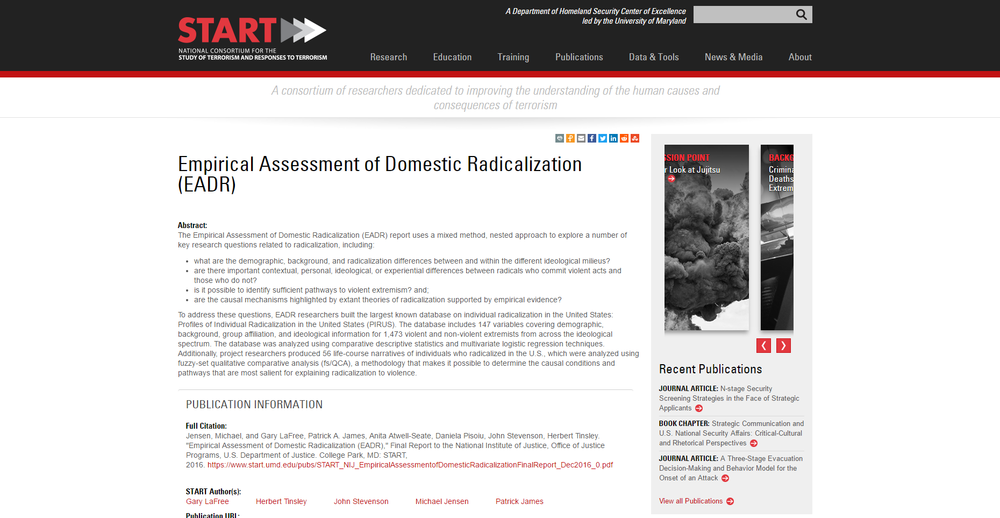Empirical Assessment of Domestic Radicalization (EADR)