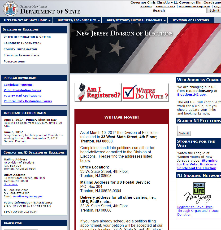 New Jersey Division of Elections